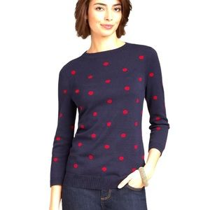Talbots Pullover Polka Dots Navy and Red